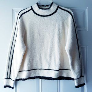 Mango Eyelash Fuzzy Cream Mock Pullover Sweater XS